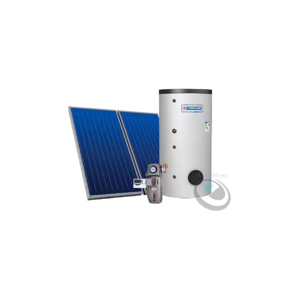 Sistema Termico Solare EcoBasic 300lt  per produzione ACS  tetto piano  con n.2  collettori solari