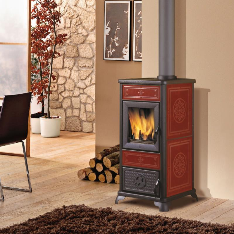 stufa a legna edilkamin katy base maiolica rossa ventilata. Black Bedroom Furniture Sets. Home Design Ideas