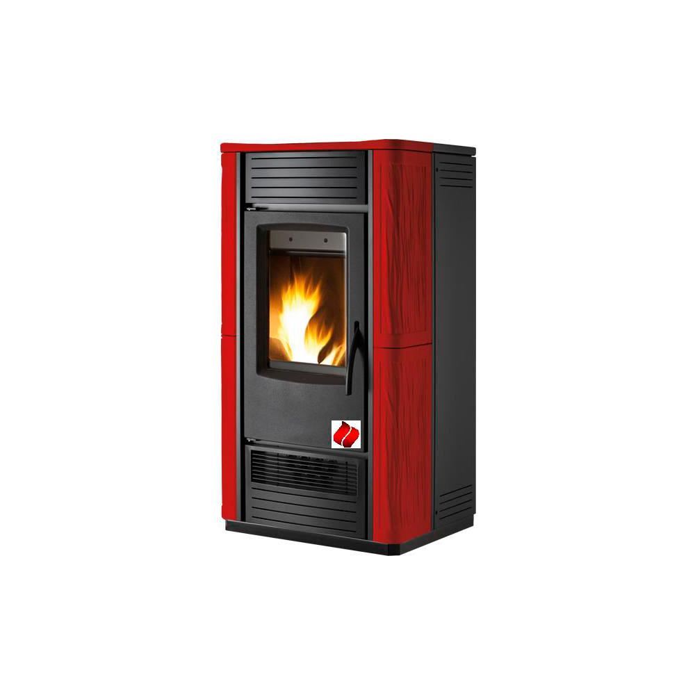 Termostufa a Pellet EL Fire  27kw Ventilata ceramica rossa