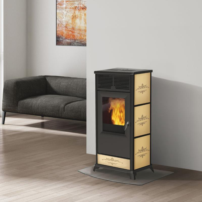 termostufa a pellet italiana camini idropolis 15kw con ventilazione